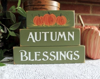 Autumn Blessings Shelf Sitter Blocks Sign Thanksgiving Decoration