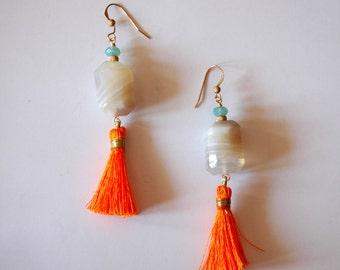 Long Tassel Earrings / Long 14k Gold Tassel Earrings with Faceted Striped Agate Gemstone with Orange Tassels Aqua Blue Swarovski Crystals