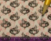 Dollhouse Miniature Victorian UPHOLSTERY FABRIC Carousel Horse Toile on White Pink Flowers 1/12th