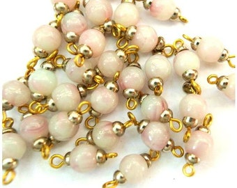10 Vintage connector stone beads with metal MADE IN AUSTRIA-light rose