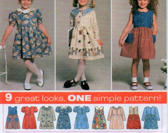 Size 5 6 7 8 Girls Dress Sewing Pattern 9 Different variations Simplicity 7097