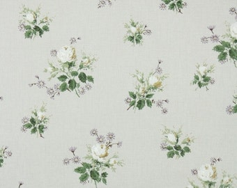 1940s Vintage Wallpaper by the Yard - Floral Wallpaper with Yellow and White Roses and Purple Accent Flowers