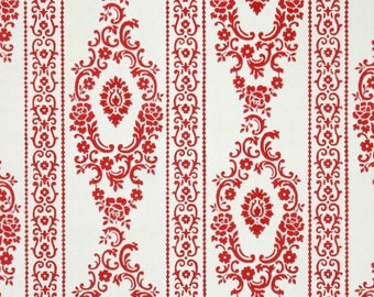 1950s Vintage Wallpaper by the Yard - Red and White Damask Floral Stripe