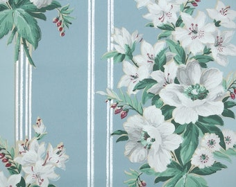 1940s Vintage Wallpaper by the Yard - White Lily Floral Vintage Wallpaper Silver Stripe on Blue