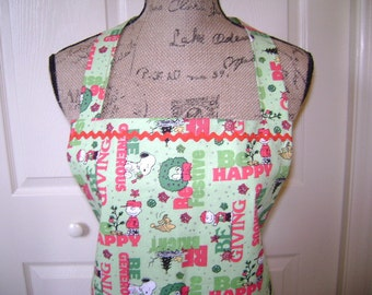 Charlie Brown Christmas Full Lenth Apron In Greens And Reds Fabric