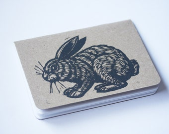 Travel Notebook, Pocket Journal, Hand Printed Journal, Bunny Rabbit Linocut Pocket Notebook