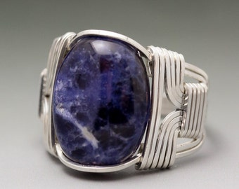 Sodalite Cabochon Sterling Silver Wire Wrapped Ring - Made to Order and Ships Fast!