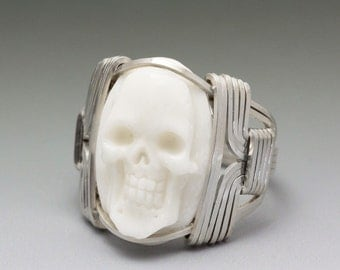 Carved Bone Oval Skull Cameo Sterling Silver Wire Wrapped Ring - Made to Order and Ships Fast!
