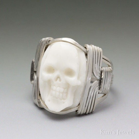 Carved Bone Oval Skull Cameo Sterling Silver Wire Wrapped Ring ANY size