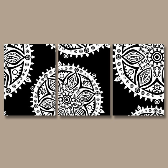 Aztec tribal wall art canvas or prints black white by for Black and white wall art