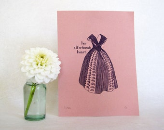 Jane Austen Art Print - Pride and Prejudice - Regency fashion illustration