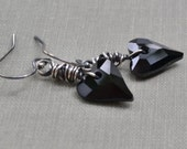 Black Heart Earrings Heart Pendant Oxidized Sterling Earrings Wire Wrapped Jet Black Swarovski Wild Heart Pendant Sterling Silver