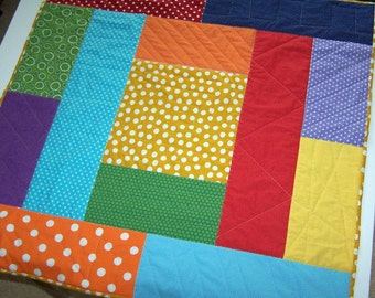 Baby quilt bright primary colors