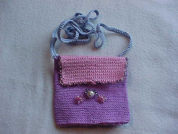 Crochet Small Bag : Small crochet purse bag pouch adorned with crystals by outbackhill