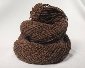 Handspun Yarn - Brown Alpaca/Baby Cormo Wool - 400 yds