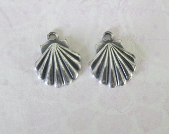 2 Silver Seashell Charms 3508