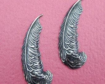 NEW 2 Small Silver Feather Findings 3536