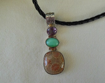 Fossil Coral, Quartz and Amethyst Silver Pendant Necklace