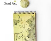Romantic Notebook, love gift, notebook and badge, small pinback button, cute christmas gift