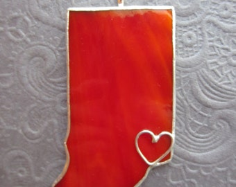 Indiana State Stained Glass Ornament  or Window Sun Catcher Lead Free or Your Choice of State