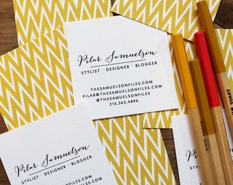 Square Personalized Business Calling Cards Chevron Ikat in Gold - set (50)
