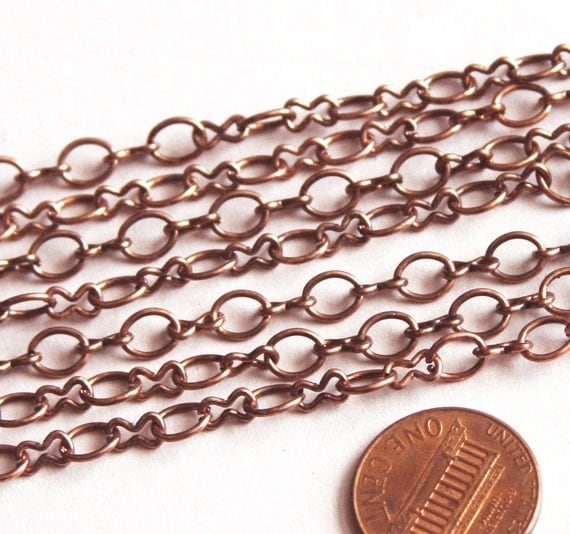 Sale 15ft of Antique Copper chain plated over steel large  figure 8 chain 4.1X 6.1mm