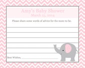 24 Personalized Baby Shower Advice Cards   ELEPHANT - PINK