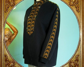 60s Norwegian traditional embroidered wool jacket with chain buttons. S/M/38