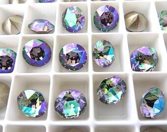 12 Paradise Shine Foiled Swarovski Crystal Chaton Stone 1088 39ss 8mm