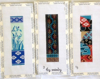 Cross Stitch Needlepoint Patterns by The Black Sheep - Blue Red Burgundy Gold White Floral - Set of 3 Vertical Full Color Designs