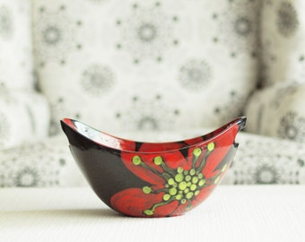 Serving Bowl, Bowl with Handles, Snack Bowl,Red Poppy Pottery Large Handle Bowl Colorful Floral CeramicAugust Rememberance Gift