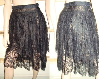60's Black Lace Top & Tiered Skirt  Rose Pattern by Albert Nippon