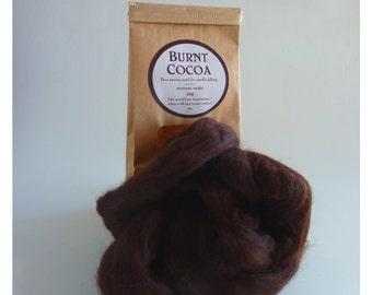 Deep brown merino roving, 25g (1oz) Burnt Cocoa, 21 micron, merino roving, merino tops, felting wool, needle felt wool, wet felting