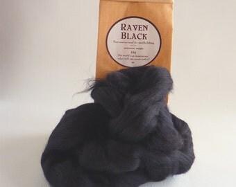 Merino roving,  black, 'Raven Black' 25g  (1oz), 21 micron merino roving, black tops, black roving, needle felt wool,  wet felting,