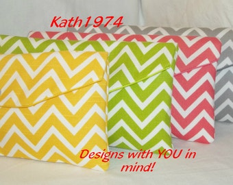 Chevron Clutches - Bridesmaid Clutches -  Set of 4 - Envelope Clutches - Premier Prints in Cosmo Cheveron - Bridesmaid Gift - Birthday