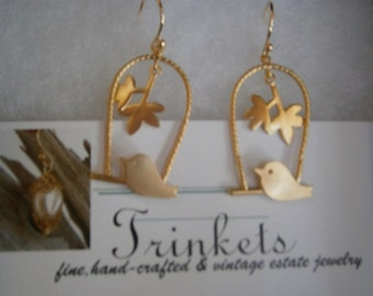 """18K Gold-Plated """"Bird on a Wire"""" Earrings"""