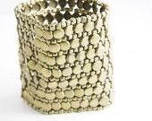 Antique Brass Cuff Bracelet -  wide antique brass metal cuff bracelet (B16)
