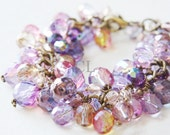 Violet Crystal Cluster Bracelet - purple, violet, pink and champagne fire polish crystals hanging from antique brass chain (B37C)