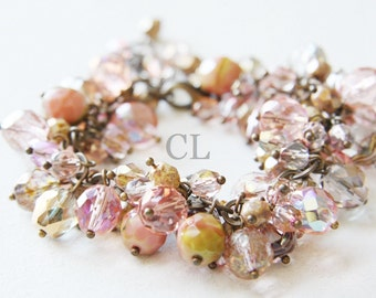 Pink Champagne Crystal Bracelet - vintage pink, dusty rose and champagne fire polish crystals hanging from antique brass chain (B37A)