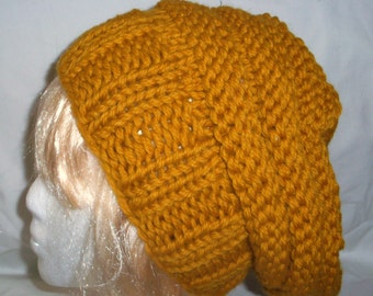 Gold Bulky  Wool Slouch Hat Hand Knit  Woman Teen Girl