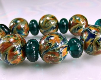 Silvered Teal Blue Orange Lampwork Bead Set SRA Glass Beads