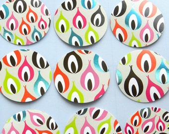"""Peacock Feathers 2"""" Die Cut Circles or Sticker Set"""