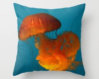 Cnidarian In The Sea Jellyfish Orange Blue Beach Cottage Decor Jellyfish Pillow Beach Pillow Sea Ocean Life