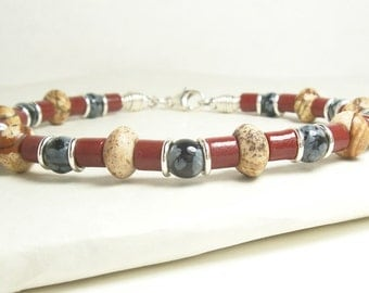 Men's Leather Bracelet, Brown, Black and Grey Gemstones with Red Sand Cast Beads and Sterling Silver. Jasper, Snowflake Obsidian Gemstones