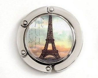 Eiffel Tower Purse Hook, Eiffel Tower Sunset purse hanger, tabletop purse hanger