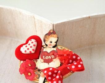 Hair Clip love girl kawaii red  lolita accessory