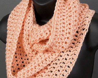 Women's infinity scarf, country peach scarf, ready to ship, crocheted scarf