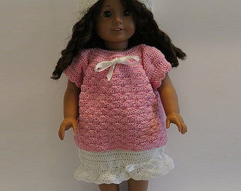 Instant Download - PDF Crochet Pattern - American Girl Doll Clothes 41 - Top, Skirt and Hat