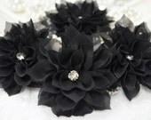 New! 4pcs Handmade Chiffon flowers--black (FB1042)