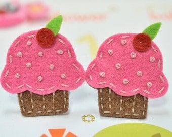 Set of 6pcs handmade felt cupcake--chocolate/dark carnation (FT834)